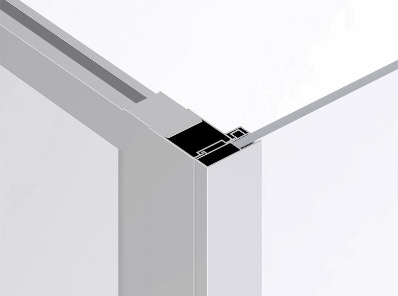 Door and fixed wall junction