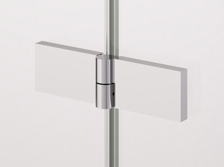 Charnière verre-verre carrée