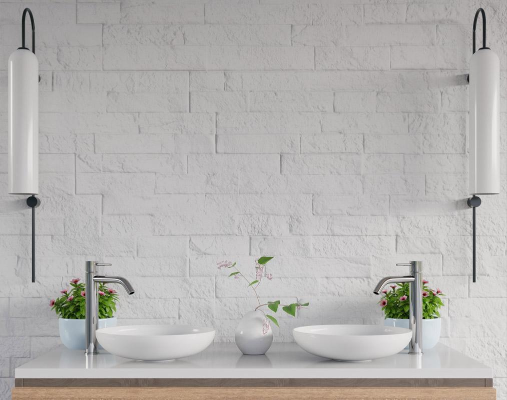 Bathroom - a brick wall, as an original idea