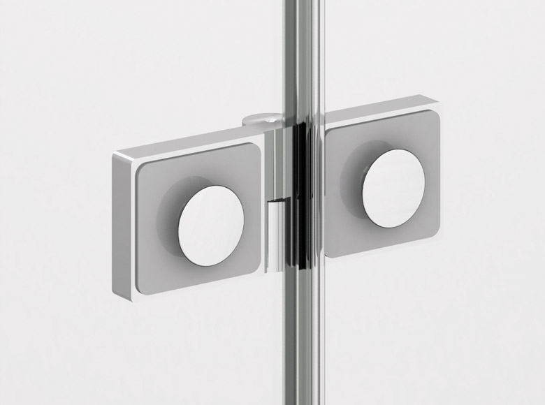 On the inside hinges flush with the glass facilitate cleaning due to smooth surfaces