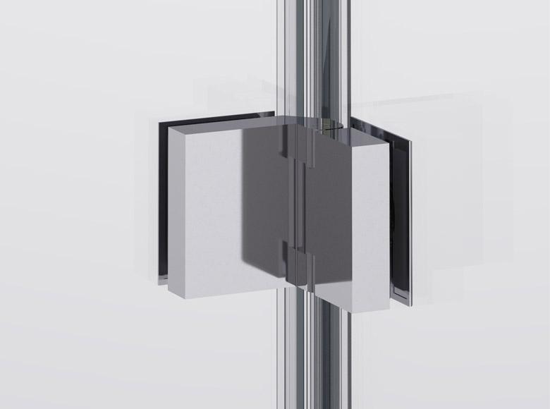 Zawias szkło-szkło z chromowanego mosiądzu umożliwia ruch elementów szklanych w zakresie 90°