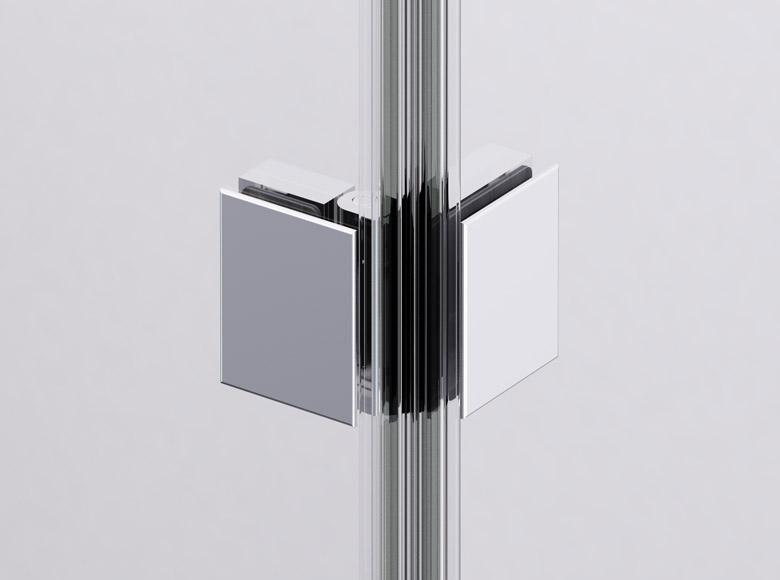 Das Glas-Glas-Scharnier aus verchromtem Metall ermöglicht eine 90° Bewegung der Glaselemente