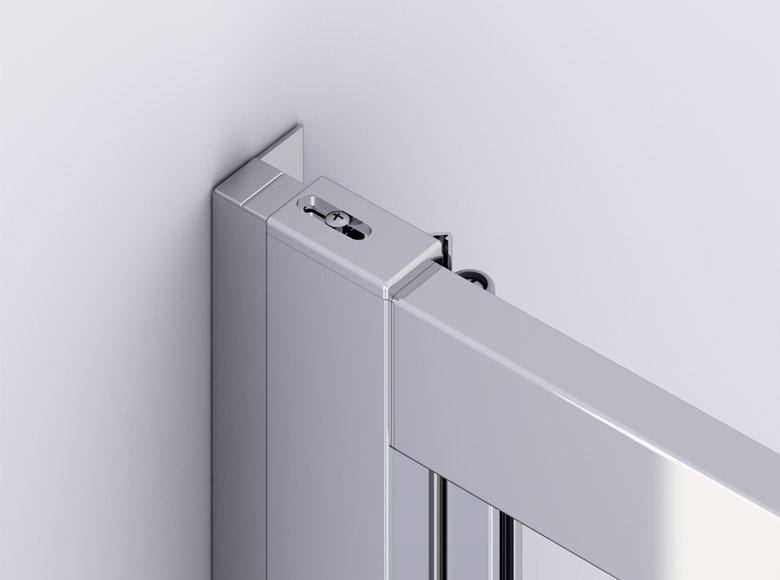 Sistemul practic de îmbinare cu clac între ușă și peretele lateral in unghi de 90°