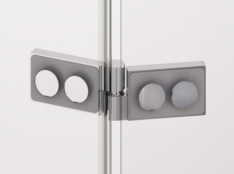 Square glass-to-glass hinge